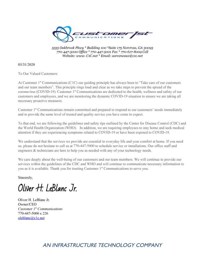 Covid 19 Customer Letter